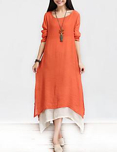 Damen Lose Kleid-Lässig/Alltäglich Einfach Chinoiserie Solide Patchwork Rundhalsausschnitt Asymmetrisch Langarm Baumwolle LeinenFrühling