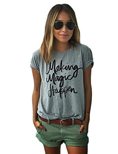 Women's Casual/Daily Street chic Spring T-shirt,Print Round Neck Short Sleeve Cotton Opaque
