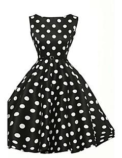 Damen A-Linie Kleid-Party Übergröße Retro Punkt Bateau Knielang Ärmellos Baumwolle Polyester Sommer Hohe Hüfthöhe