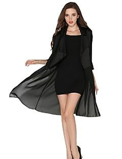 Women's Solid Fashion Slim Chiffon Trench Coat,Vintage / Street chic ¾ Sleeve