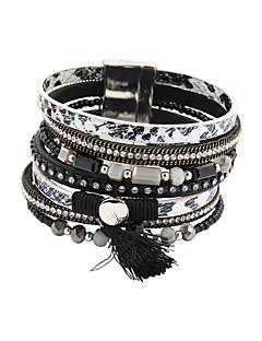 Femme Bracelets en cuir Alliage Cuir Acrylique Strass Imitation de diamant Original Mode Bijoux Noir Marron Bijoux 1pc