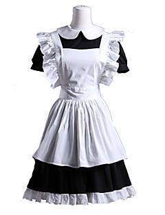 Yksiosainen/Mekot Siivujan Asut Söpö Lolita Lolita Cosplay Lolita-mekot Valkoinen Patchwork Lyhythihainen Lyhyt Leninki Esiliina varten