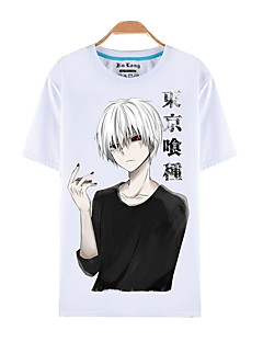 Innoittamana Tokio Ghoul Ken Kaneki Anime Cosplay-asut Cosplay T-paita Painettu Lyhythihainen Toppi T-paita Käyttötarkoitus Miehet