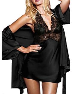 אישה טדי Nightwear אחיד משי קרח אדום שחור