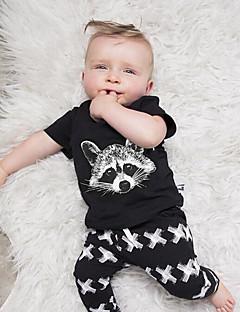 bebê Conjunto-Casual Animal-Algodão-Verão-