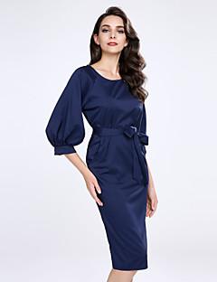 여성 칼집 드레스 플러스 사이즈 데이트 섹시 솔리드,라운드 넥 무릎길이 반 소매 아크릴 폴리에스테르 여름 중간 밑위 약간의 신축성 얇음