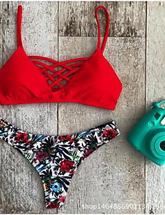 Nais- Polyesteri Kukkakuvio Bikini, Halter