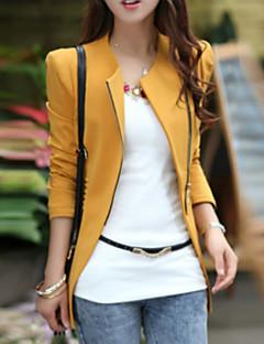 Damen Solide Einfach Lässig/Alltäglich Jacke,Rundhalsausschnitt Frühling Herbst Langarm Standard Baumwolle