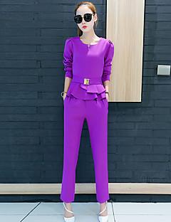 Langærmet Rund hals Medium Dame Rød / Sort / Lilla Ensfarvet Efterår Street I-byen-tøj Sæt Bukse Suits,Polyester