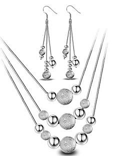 Naisten Korusetti Pisarakorvakorut Riipus-kaulakorut Yksinkertainen Muoti minimalistisesta pukukorut Sterling-hopea Pallo Kaulakorut