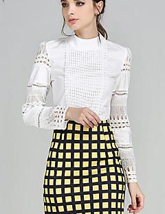 Damen Solide Einfach Übergröße Bluse,Rundhalsausschnitt Herbst Langarm Weiß Polyester Undurchsichtig