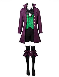 Inspireret af Sort Butler Ciel Phantomhive Anime Cosplay Kostumer Cosplay Suits Ensfarvet / Patchwork Sort / Lilla / Grøn Langt ÆrmeJakke