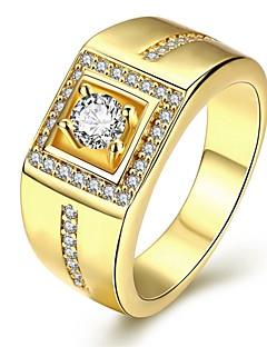 Homens Anel Amor Personalizado Jóias de Luxo bijuterias Zircônia Cubica Cobre Prata Chapeada Chapeado Dourado Forma Geométrica Jóias Para