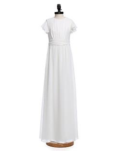 Sütun Taşlı Yaka Yere Kadar Şifon Çocuk Nedime Elbisesi ile Fiyonk Drape Kurdeleler tarafından LAN TING BRIDE®