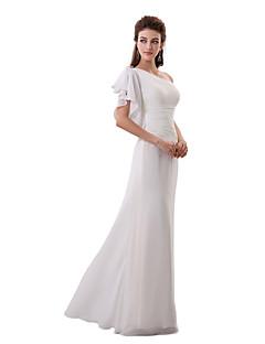 a-linie un umăr etaj lungime sifon rochie de onoare cu cristal detaliind partea draperii de myf