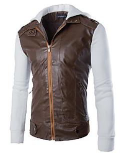 男性 カジュアル/普段着 ソリッド レザージャケット,シンプル ホワイト / ブラック / グレイ 特殊皮革タイプ 長袖