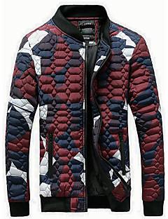 コート レギュラー パッド入り メンズ,お出かけ カジュアル/普段着 祝日 カラーブロック ポリエステル ポリエステル-シンプル 長袖