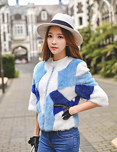 Feminino Casaco de Pêlo Informal / Casual / Festa/Coquetel Fofo / Moda de Rua / Sofisticado Inverno,Colorido Azul Tipos Especiais de Pêlo