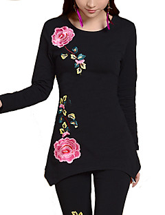 Women's Casual/Daily Plus Size Simple Fall T-shirt,Floral Round Neck Long Sleeves Others Medium