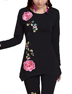 Tee-shirt Femme,Fleur Décontracté / Quotidien Grandes Tailles simple Automne Manches Longues Col Arrondi Autres Moyen