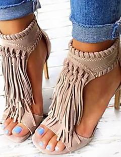 Damă Pantofi Imitație de Piele Primăvară Vară Toamnă Sandale Toc Stiletto Pantofi vârf deschis Franjuri Pentru Casual Party & Seară Negru