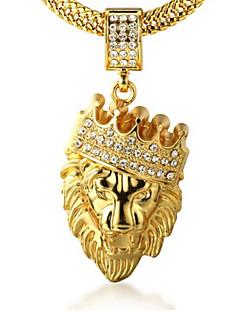 Homens Colares com Pendentes Gema Formato Coroa Formato Animal Leão Ouro Imitações de Diamante 18K ouro Liga Rock Personalizado bijuterias