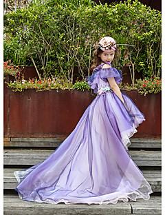 Pallo huilu epäsymmetrinen kukka tyttö mekko - tulle charmeuse hihaton off-the-olkapää helmen kanssa