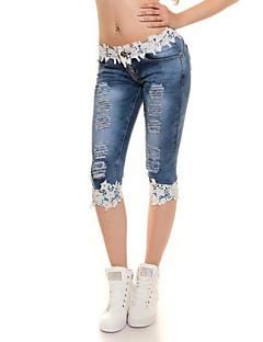 セクシー シンプル ストリートファッション ミッドライズ タイト 伸縮性 ジーンズ パンツ ソリッド