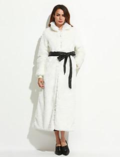 婦人向け プラスサイズ 冬 ソリッド ファーコート,シンプル スタンド ホワイト / ブラック フォックスファー 長袖 ミディアム