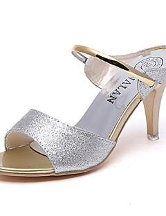 Damă Sandale Confortabili PU Primăvară Casual Confortabili Toc Plat Auriu Negru Argintiu Mov Plat