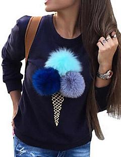 Damen Pullover Lässig/Alltäglich Niedlich Druck Rundhalsausschnitt Mikro-elastisch Polyester Lange Ärmel Winter