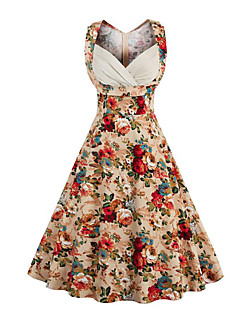 Women's Going out Casual/Daily Vintage Street chic A Line Dress,Floral Sweetheart Knee-length Sleeveless Cotton Summer Mid Rise