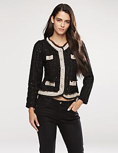 Damen Solide Anspruchsvoll Vintage Lässig/Alltäglich Ausgehen Blazer,Rundhalsausschnitt Frühling Herbst Langarm Kurz Perlenbesetzt