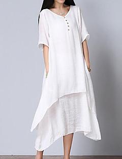 Damen Lose Kleid-Lässig/Alltäglich Einfach Solide V-Ausschnitt Midi Kurzarm Weiß Baumwolle Sommer Mittlere Hüfthöhe Unelastisch Mittel