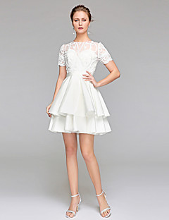 Ball Gown Jewel Neck Short / Mini Chiffon Lace Wedding Dress with Sash / Ribbon Draped by LAN TING BRIDE®