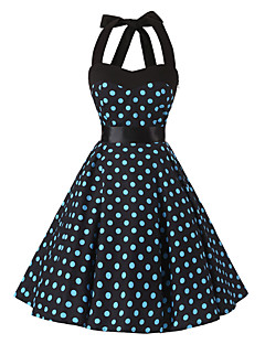 Women's Rockabilly Vintage Dress Black Blue Polka Dot Halter Knee-length Sleeveless Cotton All Seasons Mid Rise