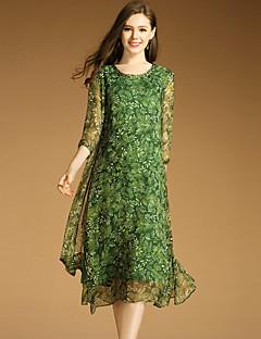 여성 스윙 드레스 데이트 플러스 사이즈 심플 프린트,라운드 넥 미디 ¾ 소매 폴리에스테르 봄 여름 중간 밑위 약간의 신축성 중간