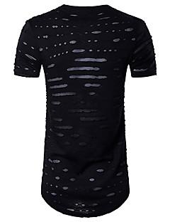 Bomull Rayon Tynn Ermeløs,Rund hals T-skjorte Ensfarget Sommer Enkel Aktiv Sport Fritid/hverdag Herre