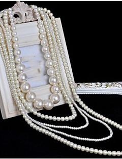 Dame lagdelte Hals Perlehalskjede Kors Formet Perle Multi Layer Lang Lengde Brude kostyme smykker Smykker Til Bryllup Fest Spesiell