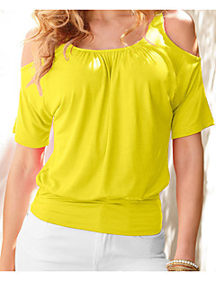 Women's Casual/Daily Simple T-shirt,Solid Round Neck Short Sleeve Others