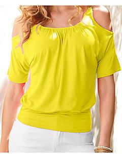 Tee-shirt Femme,Couleur Pleine Décontracté / Quotidien simple Manches Courtes Col Arrondi Autres