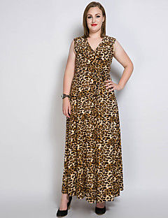 Dámské Sexy Vintage Jednoduché Běžné/Denní Party/Koktejl Velké velikosti Volné Shift Swing Šaty Jednobarevné Leopard,Bez rukávů Do V Maxi