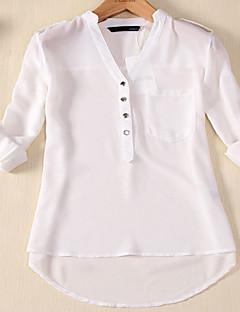 여성 솔리드 V 넥 긴 소매 블라우스,심플 캐쥬얼/데일리 플러스 사이즈 면 가을 얇음