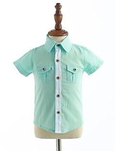 Hemd Lässig/Alltäglich einfarbig Baumwolle Sommer Kurzarm