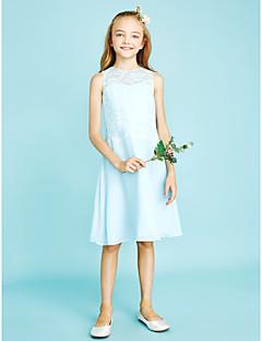 Sütun Taşlı Yaka Diz Boyu Şifon Dantelalar Çocuk Nedime Elbisesi ile Dantel tarafından LAN TING BRIDE®