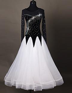 Standardní tance Šaty Dámské Taneční vystoupení Čínský nylon Aplikace Barevně dělené Jeden díl Dlouhé rukávy Vysoký Šaty