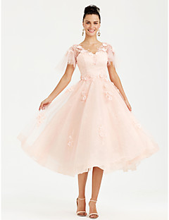 Princess V-neck Tea Length Lace Tulle Formal Evening Dress with Flower(s) Pearl Detailing by TS Couture®