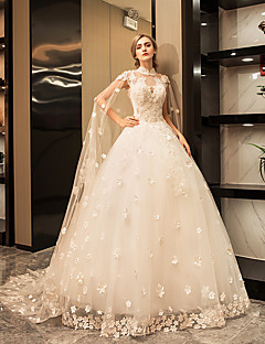 Princess High Neck Floor Length Tulle Wedding Dress with Crystal Appliques Lace by YUANFEISHANI