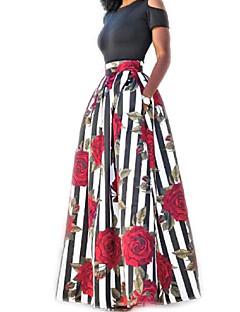 Damen Zweiteiler Kleid-Lässig/Alltäglich Einfach Blumen Druck Rundhalsausschnitt Maxi Kurzarm Baumwolle Sommer Hohe Hüfthöhe