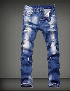 Masculino Moda de Rua Cintura Média Micro-Elástica Jeans Calças,Solto Sólido